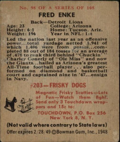 1948 Bowman #98 Fred Enke RC back image