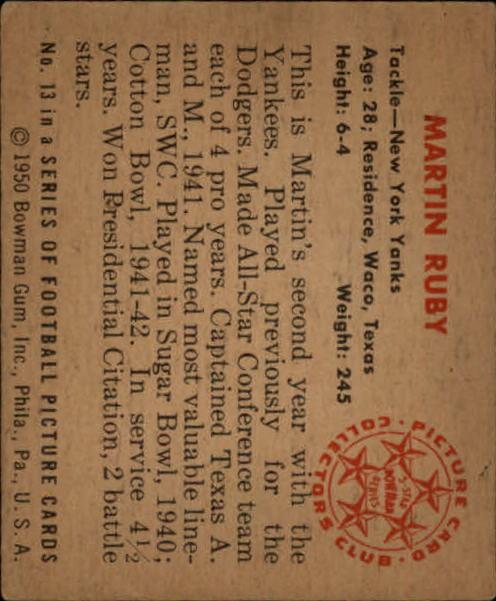 1950 Bowman #13 Martin Ruby RC back image