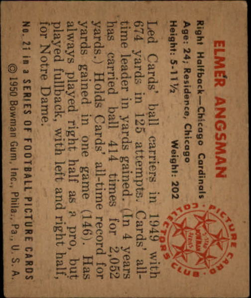 1950 Bowman #21 Elmer Bud Angsman back image