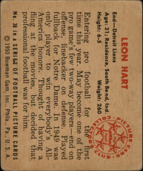 1950 Bowman #38 Leon Hart back image