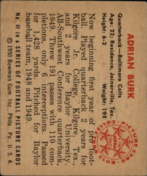 1950 Bowman #41 Adrian Burk RC back image