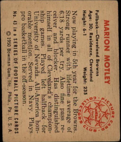 1950 Bowman #43 Marion Motley RC back image