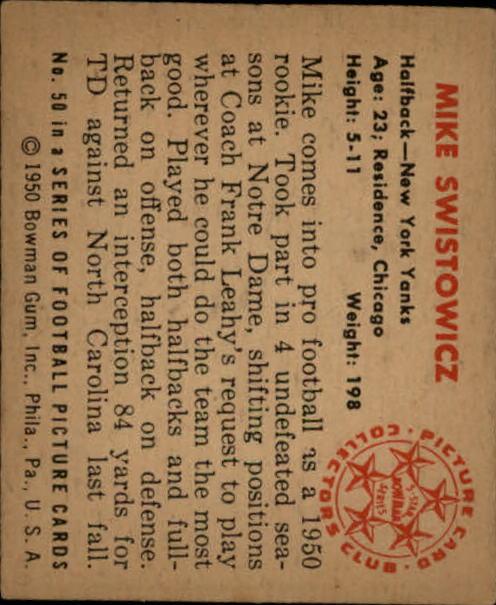 1950 Bowman #50 Mike Swistowicz RC back image