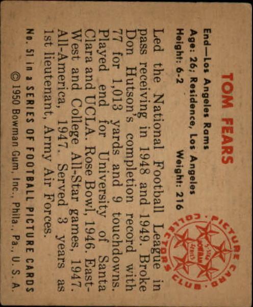 1950 Bowman #51 Tom Fears RC back image