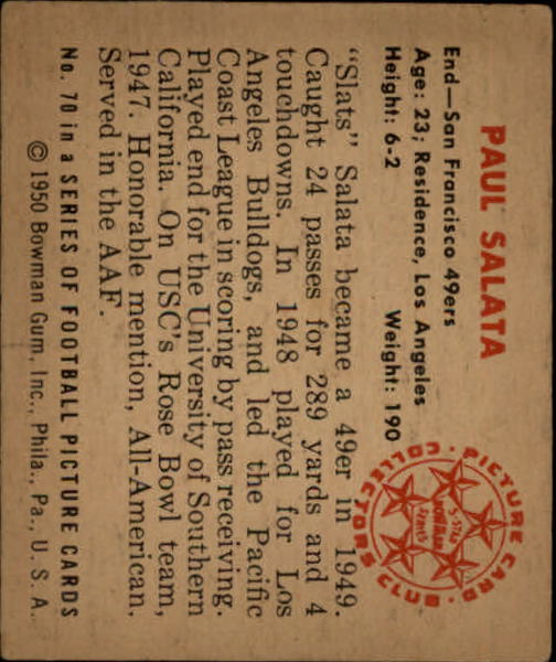 1950 Bowman #70 Paul Salata RC back image