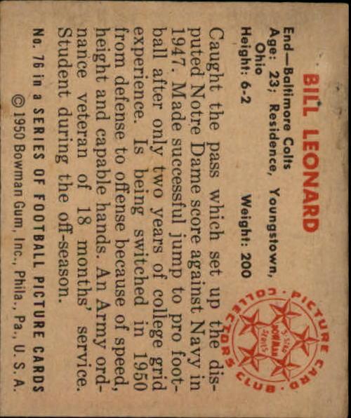 1950 Bowman #76 Bill Leonard RC back image