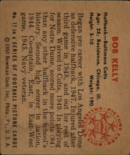 1950 Bowman #77 Bob Kelly RC back image