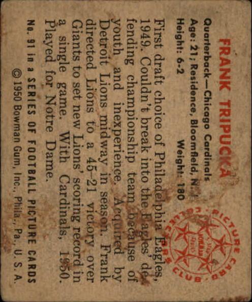 1950 Bowman #91 Frank Tripucka back image