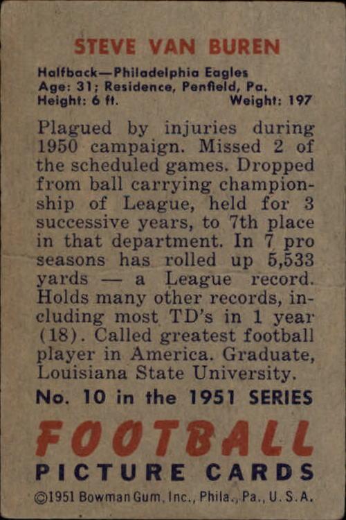 1951 Bowman #10 Steve Van Buren back image