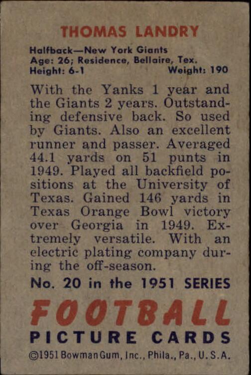 1951 Bowman #20 Tom Landry RC back image