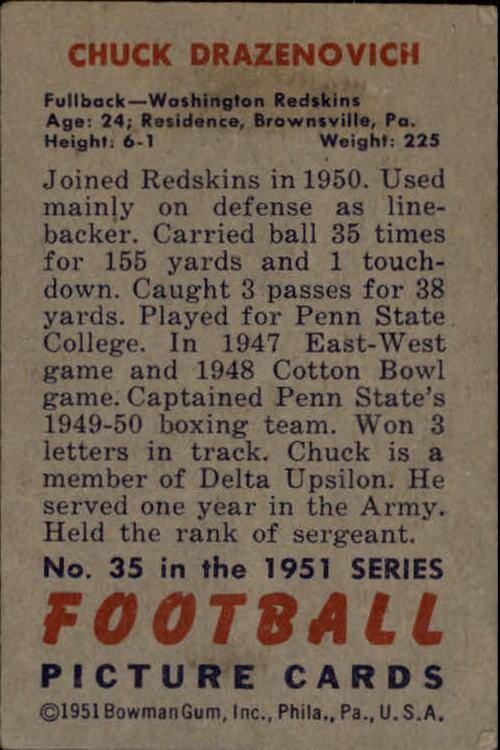 1951 Bowman #35 Chuck Drazenovich RC back image