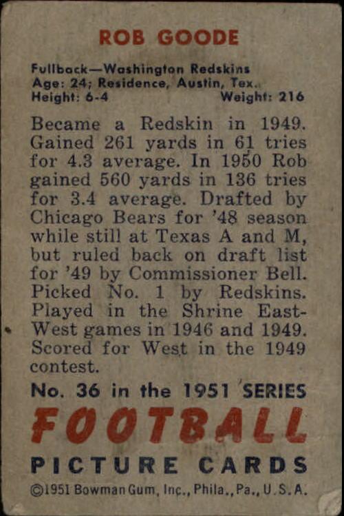 1951 Bowman #36 Bob Goode back image
