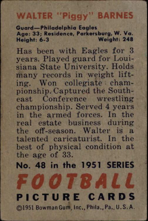 1951 Bowman #48 Walter Barnes back image