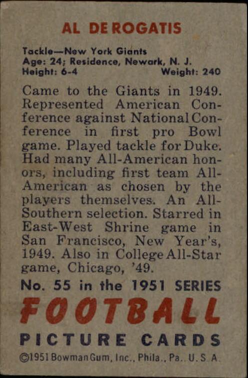 1951 Bowman #55 Al DeRogatis RC back image
