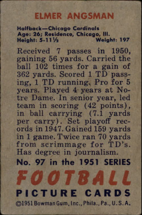 1951 Bowman #97 Elmer Bud Angsman back image