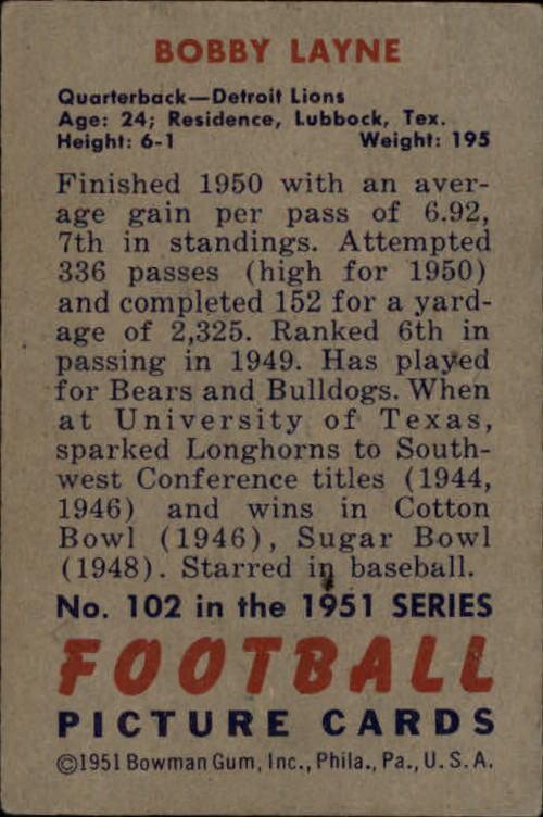 1951 Bowman #102 Bobby Layne back image