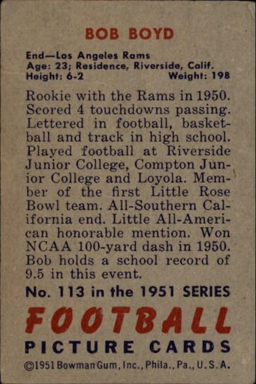 1951 Bowman #113 Bob Boyd RC back image