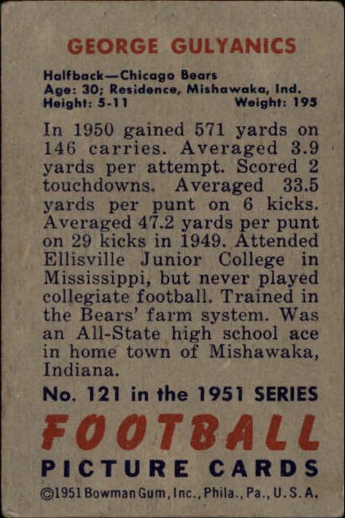 1951 Bowman #121 George Gulyanics back image