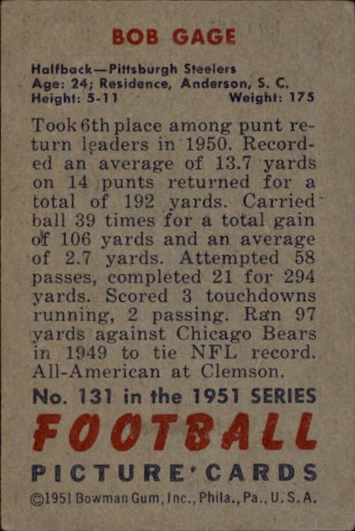 1951 Bowman #131 Bob Gage back image