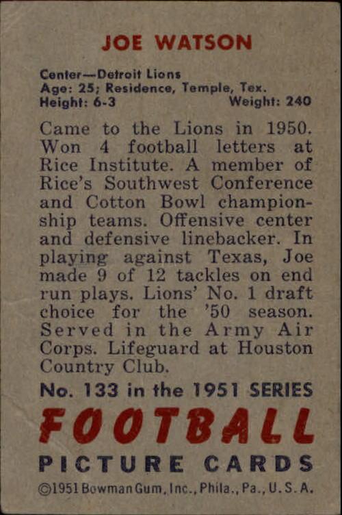1951 Bowman #133 Joe Watson back image