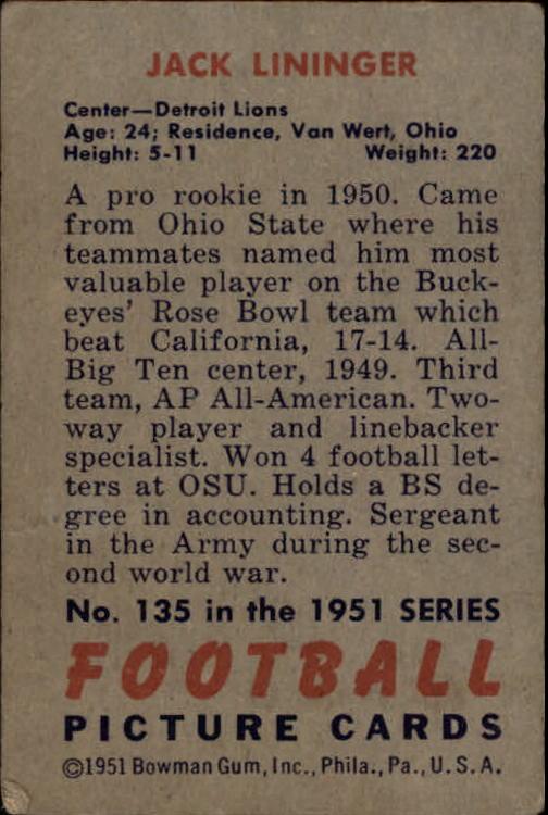 1951 Bowman #135 Jack Lininger RC back image