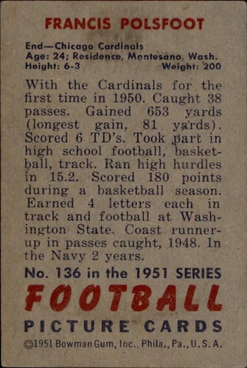 1951 Bowman #136 Fran Polsfoot RC back image