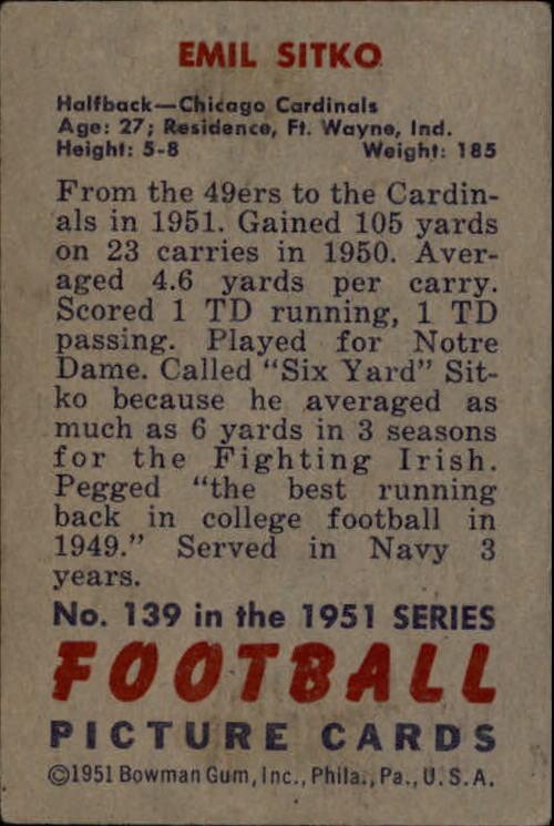 1951 Bowman #139 Emil Sitko back image