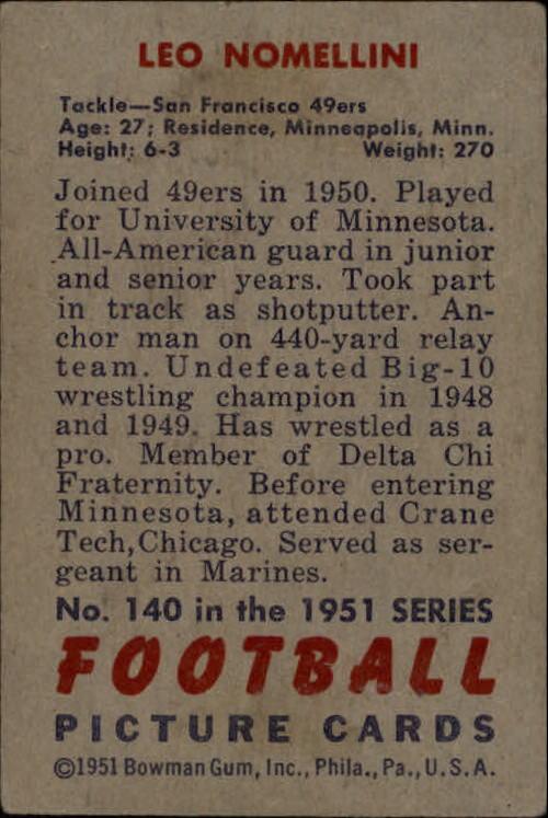 1951 Bowman #140 Leo Nomellini back image