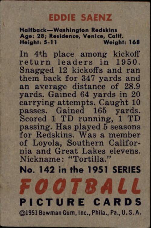 1951 Bowman #142 Eddie Saenz RC back image