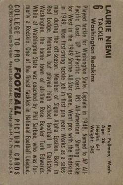 1952 Bowman Large #6 Laurie Niemi RC back image