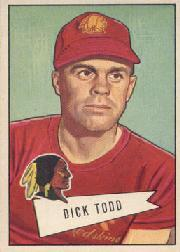 1952 Bowman Large #43 Dick Todd CO RC