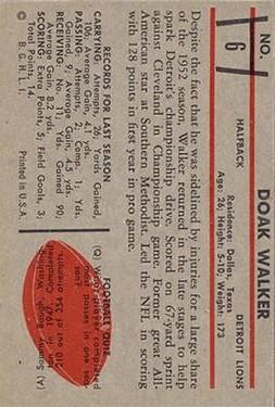 1953 Bowman #6 Doak Walker back image