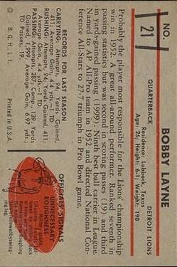 1953 Bowman #21 Bobby Layne back image
