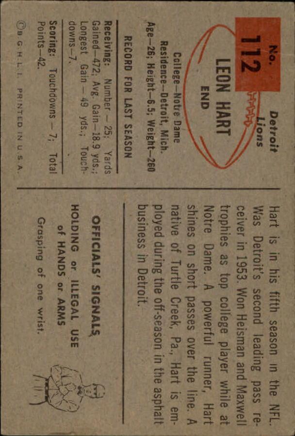 1954 Bowman #112 Leon Hart back image