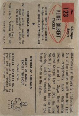 1954 Bowman #123 Kline Gilbert RC back image