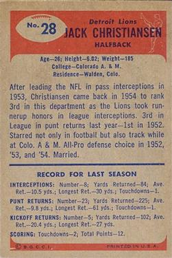 1955 Bowman #28 Jack Christiansen back image