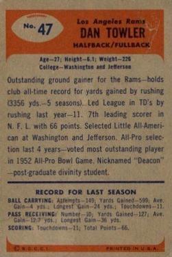 1955 Bowman #47 Dan Towler back image