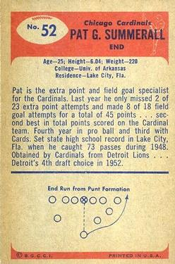 1955 Bowman #52 Pat Summerall RC back image