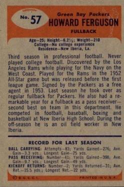 1955 Bowman #57 Howard Ferguson RC back image