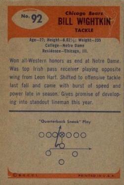 1955 Bowman #92 Bill Wightkin back image