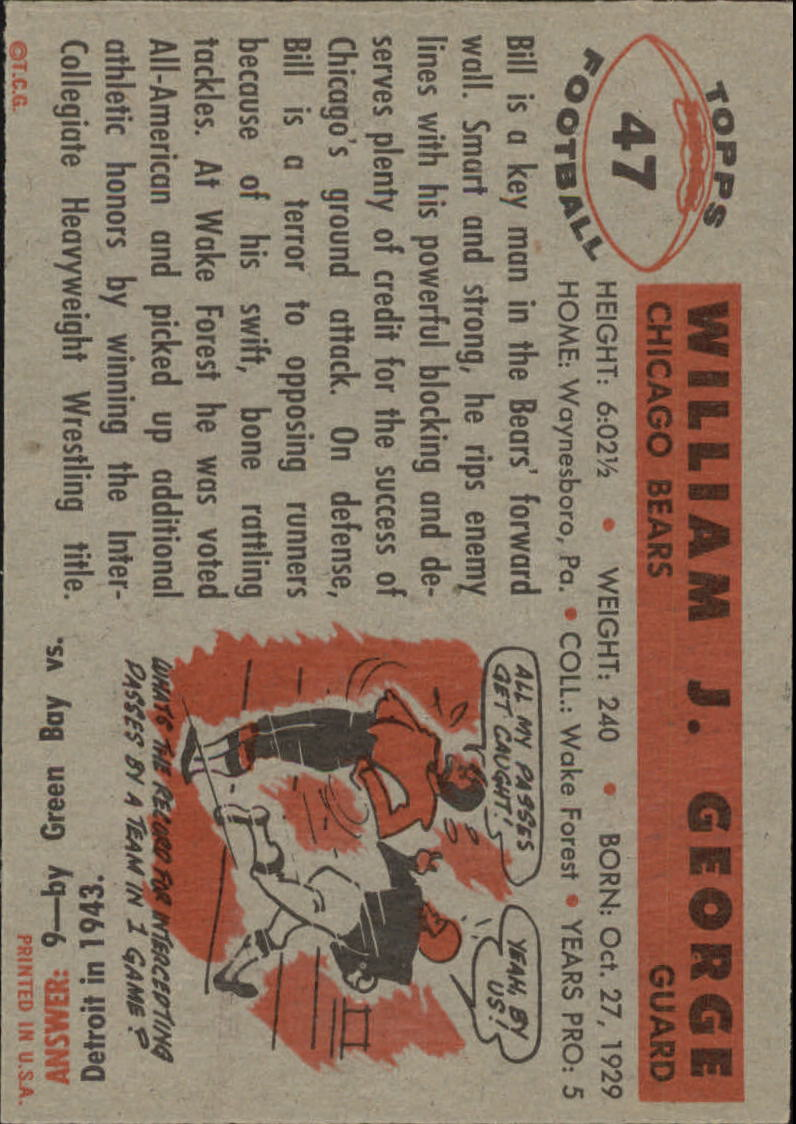 1956 Topps #47 Bill George RC back image