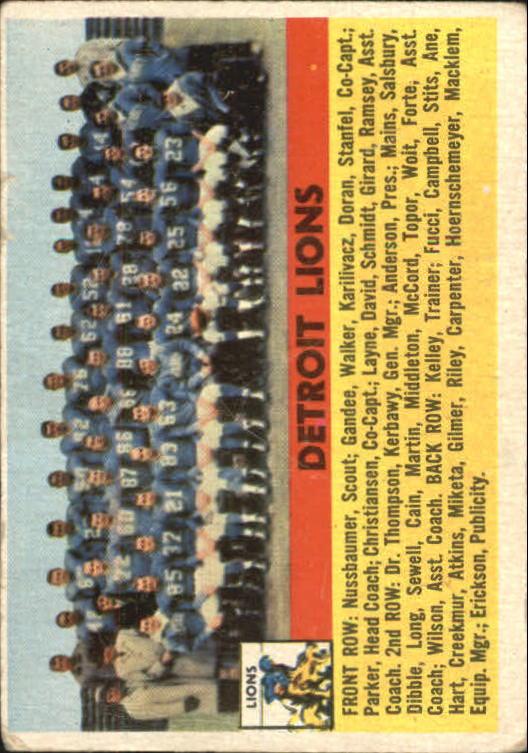 1956 Topps #92 Detroit Lions