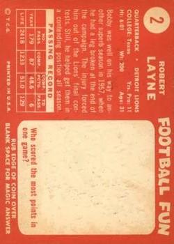 1958 Topps #2 Bobby Layne back image