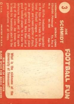 1958 Topps #3 Joe Schmidt back image