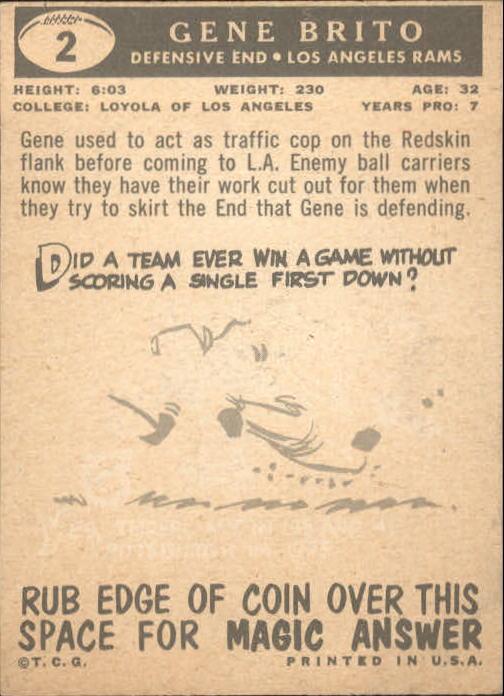 1959 Topps #2 Gene Brito back image