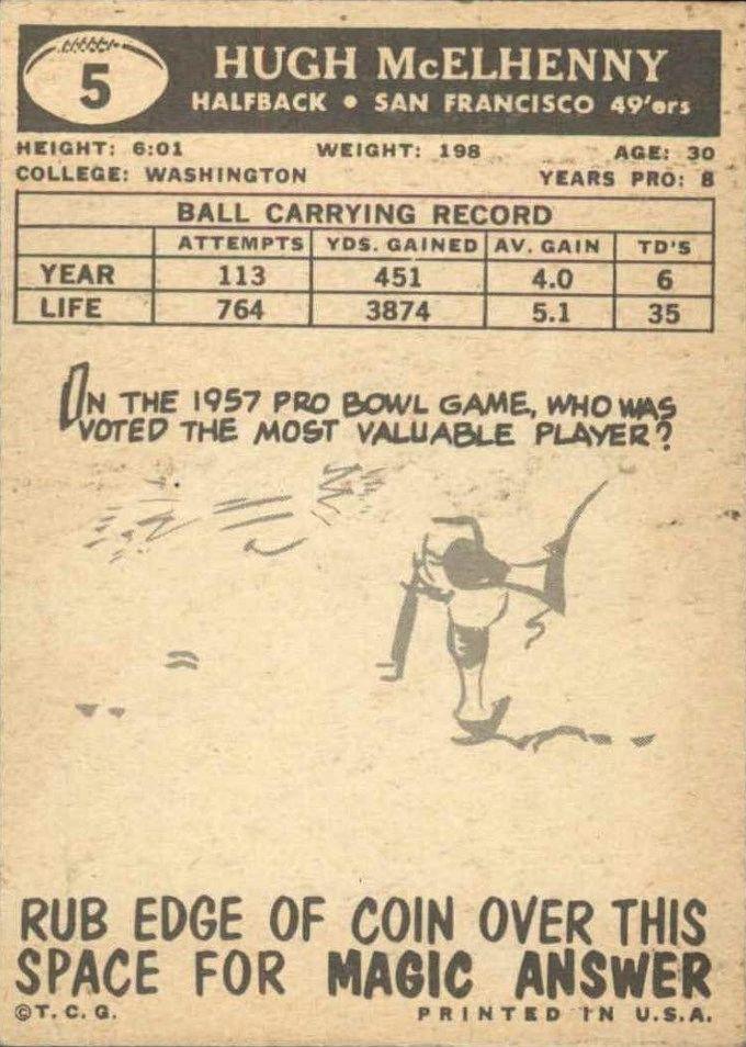 1959 Topps #5 Hugh McElhenny back image