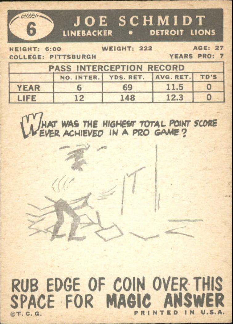 1959 Topps #6 Joe Schmidt back image