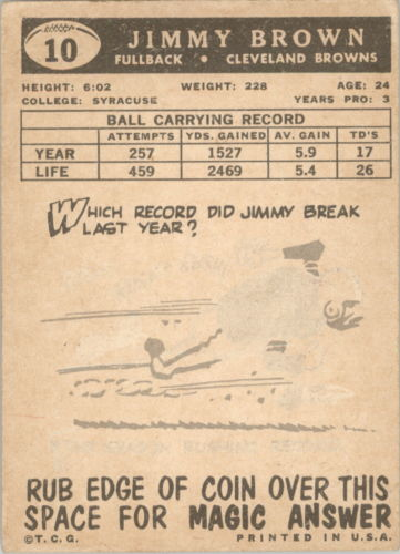 1959 Topps #10 Jim Brown back image