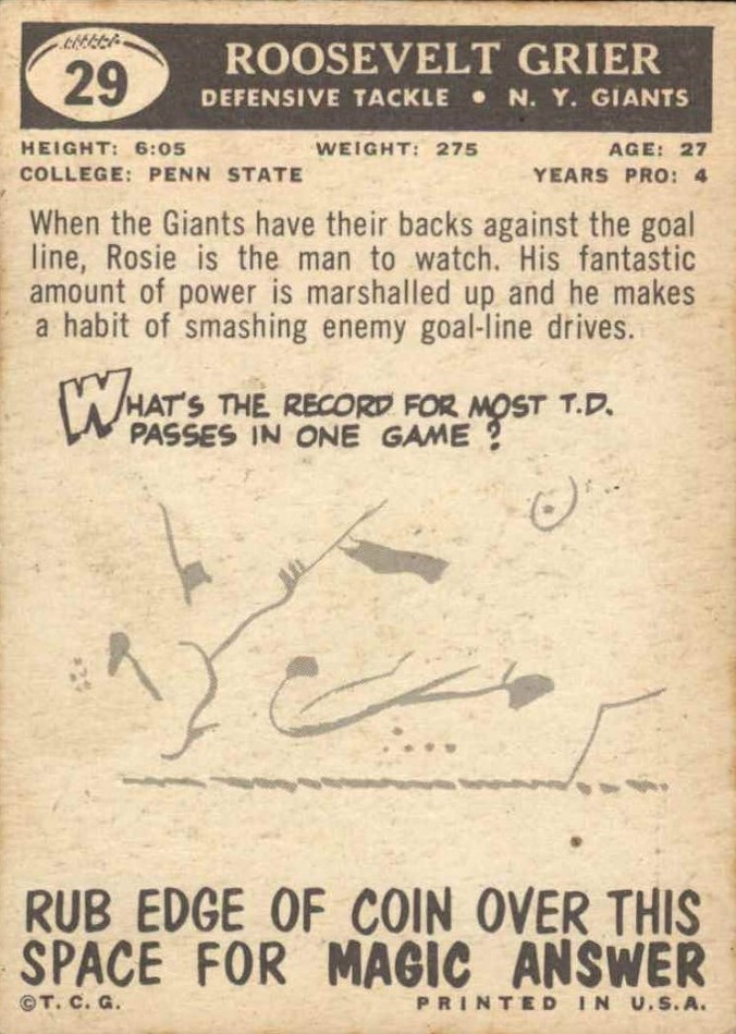 1959 Topps #29 Roosevelt Grier back image