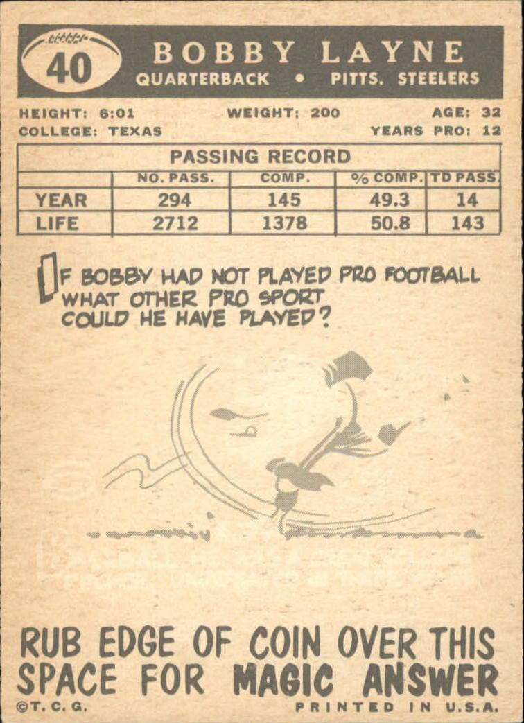 1959 Topps #40 Bobby Layne back image